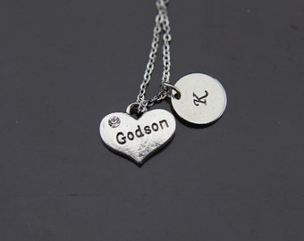 Silver Godson Charm Necklace Silver Godson Necklace Godson Charm Personalized Necklace Initial Charm Initial Necklace  Customized Jewelry