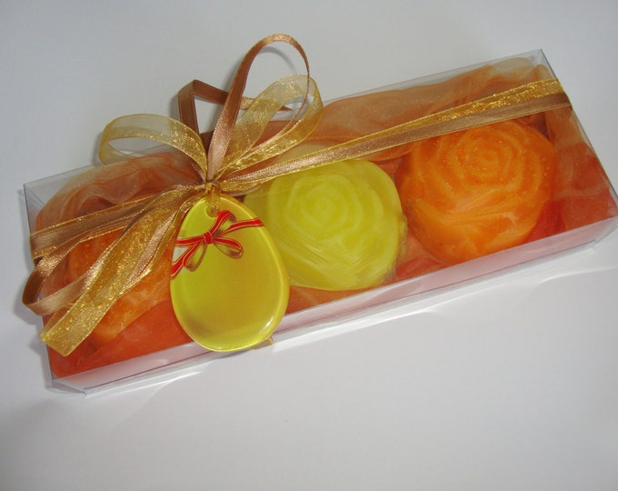 Yellow Orange Easter Gift Set, Luxury Floral Glycerin Scented Soaps, Handmade Glass Decorative Egg, Easter Party Decor, Easter Hostess Gift