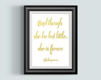 She Is Fierce, Gold Foil Print, Gold Foil Art