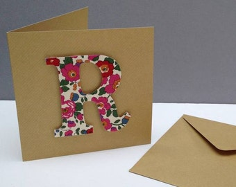 Liberty Print Initial Handmade Greetings Card/Monogrammed Greetings Card/Personalised Greetings card/choice of 20 prints/personalised card