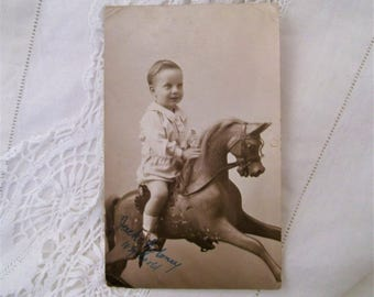 Vintage Photograph Postcard. 1918 Postcard. Boy On Rocking Horse. Genuine Photo Postcard. Sepia Photograph. Charming Vintage Postcard.