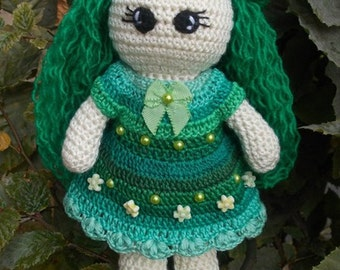 Green Fairy Crochet Doll Green Crochet Doll fairy doll faerie sprite faery fay pixie pixy Green pixy Green sprite MADE TO ORDER