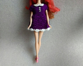 Purple Dress for Doll Crochet Dresses for Dolls Doll Clothing Dolls Clothes Custom Dress for Doll crochet Barbie dress  Barbie clothes