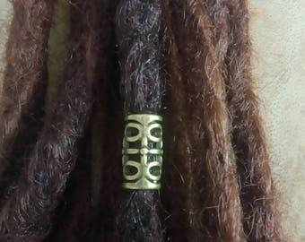 Bronze barrel dread bead. 7mm hole Dreadlock bead. Hair jewelry. Dread schmuck.