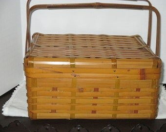 SALE Bamboo Sewing Basket 1950s
