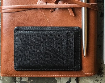 slim wallet / saffiano leather / leather card case / credit card holder / RFID blocking / multiple slots  / minimalist / real leather