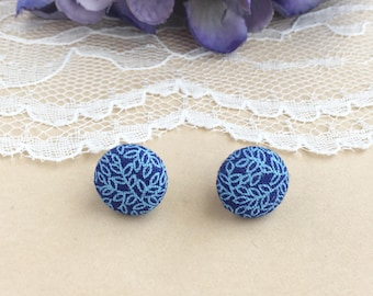 Blue Leaf Fabric Stud Earrings, Navy Leaf Earrings, Fabric Earrings, Stud Earrings, Button Earrings, Simple Earrings