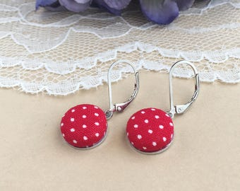 Red And White Dot Fabric Lever Back Earrings, Polka Dot Earrings, Fabric Earrings, Lever Back Earrings, Button Earrings, Simple Earrings