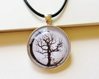Enso Tree of Life Necklace - tree of life pendant, circle of life necklace, enso pendant, enso circle necklace, spiritual jewelry
