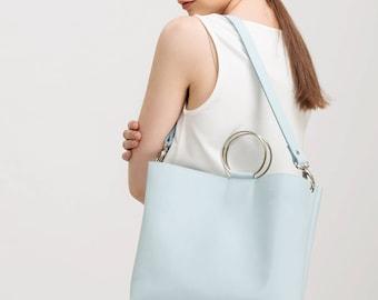 Leather purse with ring handles, Leather shoulder bag, Leather handbag, Blue leather tote, Summer bag, Minimalist leather bag