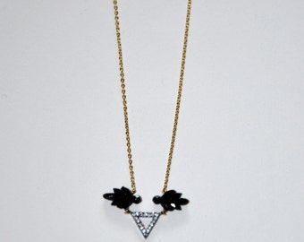 Gold-plated necklace, triangle paved Zircons and old Jet leaves