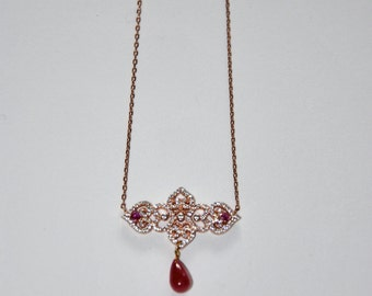Fine vintage necklace, pink gold-plated, Zircons and drop of Ruby