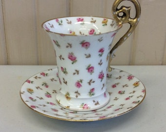 Vintage Teacup and Saucer from Higgins and Seiter; Pink & Yellow Rose Print; Gold Scroll Handle