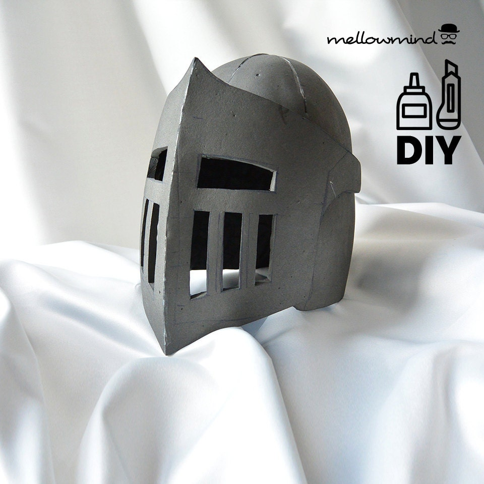 Diy knight helmet template for eva foam version b from for Paper knight helmet template