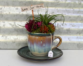 Miniature Tea Cup Garden, Love Joy Hope and Tea Inspirational Tea Lover Gift, Pottery Tea Cup Decor, Succulent Gift, Tea Theme desktop decor