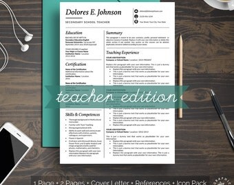 TEACHER RESUME Template Professional Minimalist Design CV Template Instant Download for Word Black and White Elegant and Easy to Edit Resume