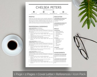 Resume Template Instant Download Creative Resume Template Word Cover Letter template References Icon Pack Clean Classic CV for men and women