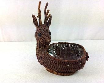Deer Wicker Basket Vintage Wicker Deer Basket Beautiful Deer Basket Wicker Basket