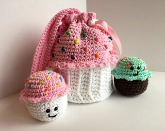 Amigurumi Cupcake Bag, Amigurumi Cupcakes, Pink, White, Crochet, Cupcake Purse
