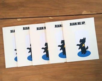 Set of Five Star Trek Cards - Beam Me Up Scottie