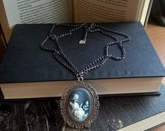 """Steampunk Victorian Necklace, Pendant - Handmade, Cameo, Unique - 15"""" Silver Tone Chain"""