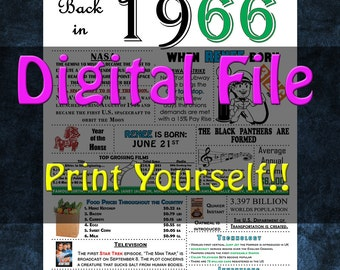1966 Personalized Birthday Poster, 1966 History - DIGITAL FILE!!