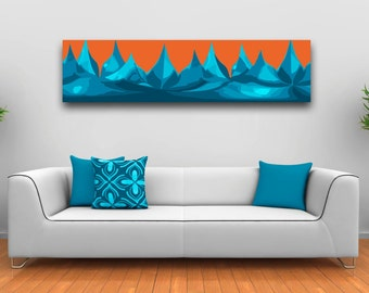 Big Bold Art for your home, Orange and Blue Abstract art print ideal for open plan homes, Interior wall decor for living room, studio, hall