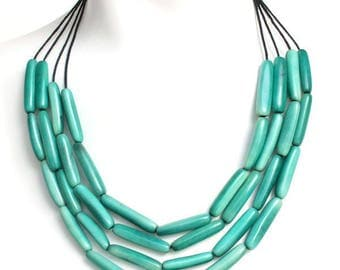 Turquoise necklace, Statement necklace, Tagua necklace, Boho necklace, Spring Jewelry, Gift women, Ecofriendly jewelry, Tagua nut beads