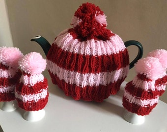 Striped Red and Pink Tea Cosy and Egg Cosy Set | Hand Knit in Ruby Red and Baby Pink Wool