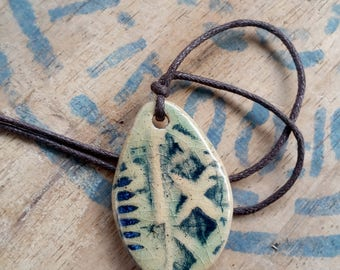 Autumn Collection: Soft Blue Pendant Necklace - ceramic jewelry, blue necklace, autumn fashion, rustic jewellery, one of a kind