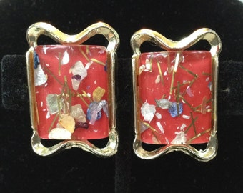 PAM Signed Red Confetti Clip On Earrings
