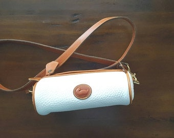 ANNIVERSARY SALE!  Rare Vintage White Dooney and Bourke Medium Cosmetic Roll With Shoulder Strap