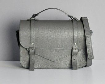 Dark Grey Leather satchel with a long strap