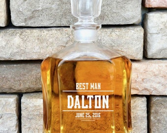 Groomsmen Whiskey Decanter, Personalized Gifts For Groomsmen, Best Man Gift, Engraved Decanter, Man Cave, Scotch Decanter,