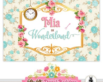 Alice in Wonderland Backdrop - Alice in Wonderland Printable Backdrop - Alice in Wonderland Decorations - Sweet Table Decoration - Backdrop