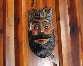 Mexican Folk Art Bearded Face Mask with Bat on Head