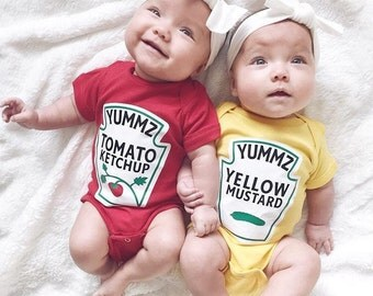 Twins Baby Gift - Ketchup and Mustard Twins Outfits - Twins Costumes - Twins Outfits  - Twin Boys - Twin Girls - Boy Girl Twins