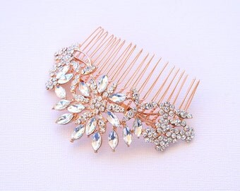 Rose Gold Wedding Hair Comb Bridal Hair Comb Crystal Hair Comb Wedding Headpieces