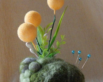 Needle Felted pincushion decorated with plastic plants. Room, office, table decor. Gift for crafters. Mother's day gift