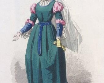 Hand-coloured original antique print by Francois Claudius Compte-Calix - Historical Costume - Epoque de Henri II - French Fashion