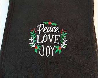 Fleece Scarf - Peace Love Joy