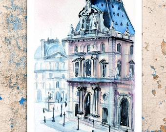 Paris ,Luvre museum, Paris watercolor,France, Paris print, Poster, Wall art, Art print, Digital Print, INSTANT DOWNLOAD.