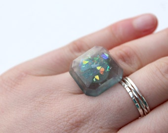 Sparkle Ring - Square Ring - Resin Ring - Statement Ring - Adjustable Ring - Resin Jewellery