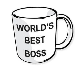 Worlds Best Boss, Laptop Stickers, the office stickers, Laptop Decal, Dunder Mifflin Michael Scott The Office TV Show Stickers Vinyl Sticker