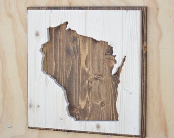 Wisconsin State Wood Plaque Silhouette