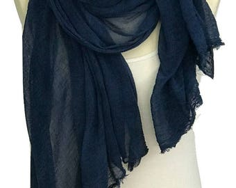 Blue Scarf, Cotton Scarf, Indigo Scarf, Woman Scarf, Indigo Dye,Hand Made Scarves, Gift For Her, Large Scarf, Soft Scarf, Art Scarf, Scarves