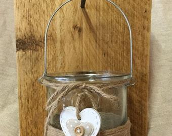 Wallmounted Hurricane Jar - Handmade - Reclaimed Wood and Hurricane Jar - Jar Candle Holder - Jar Vase - Wood Wall Sconce - Wall Vase