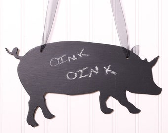 Farmhouse Decorations - Pig - Oink Oink- Chalkboard Silhouette - Pig Chalkboard - Rustic Kitchen Decor - Rustic Decor - Wall Hanging - Chalk