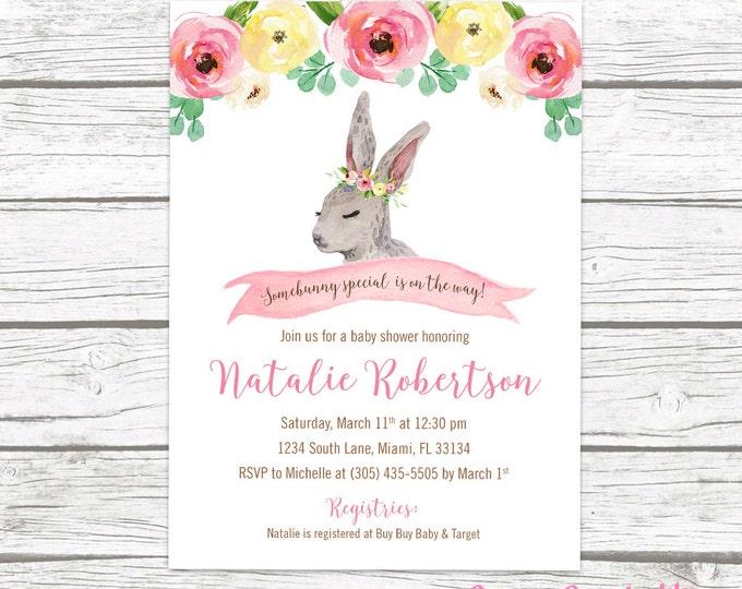 Bunny Baby Shower Invitation, Woodland Baby Shower Invitation Girl, Somebunny is on the Way Invite, Easter Baby Shower Invitation, Printable