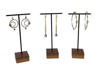 Earring display stand - Metal and Wood Jewelry Display for Craft Show Display or Retail Display
